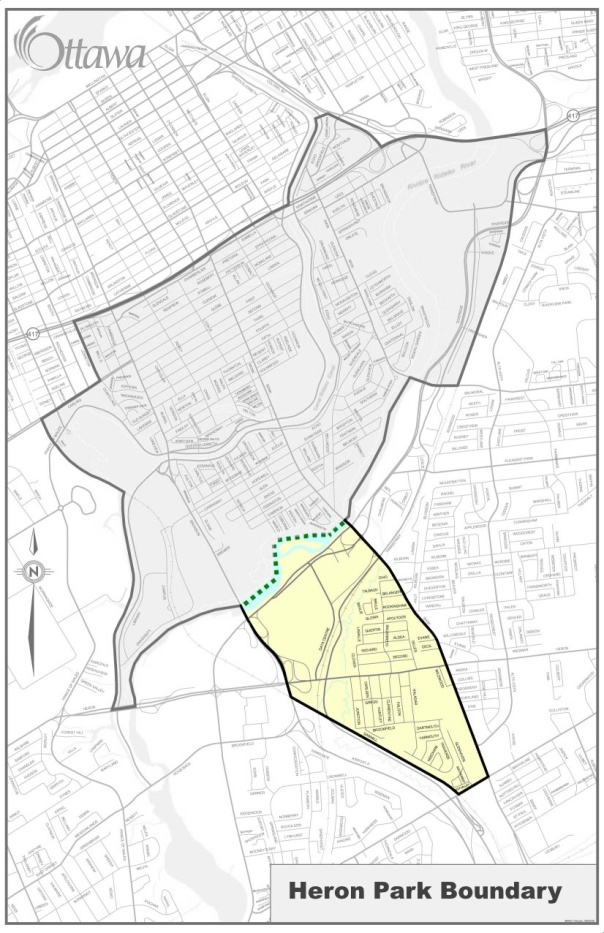 Here is the new boundary of Heron Park Community Association as amended at our AGM.   We extended the northern-most border to be the Ottawa River. Previously the northern-most border was Sawmill Creek which left a large area between Heron Park and Old Ottawa South which was not represented by any Community Association.