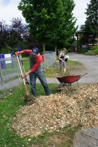 A week later we received more mulch for the garden.